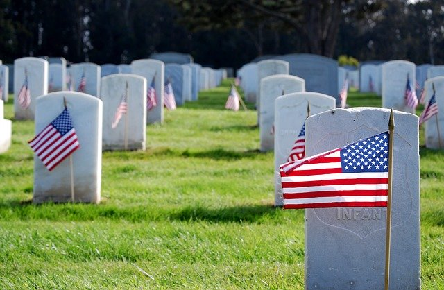 Veteran flags in cemetary