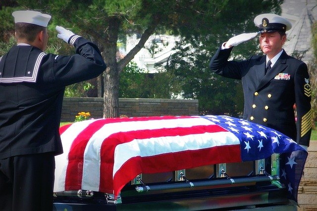 Navy funeral and casket